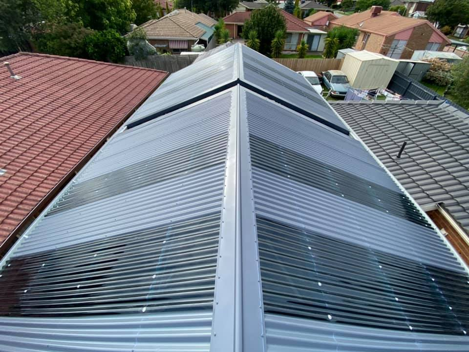 Corrugated roof, gutters and downpipes for a new Carport roof completed in Narre Warren